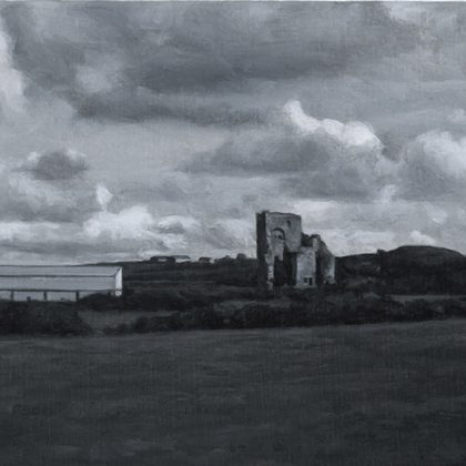 Nicholas Middleton Landscape with Ruin, Oil on paper on card 10 x 15 cm