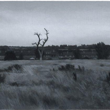 Nicholas Middleton Landscape with Tree struck by Lightning, Oil on paper on card 10 x 15 cm