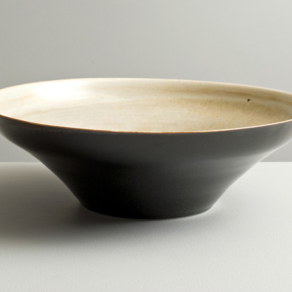 Olen Hsu 'Large Bowl with Variegated Ivory and speckled Black glaze' Porcelain 33 x 10 cm.