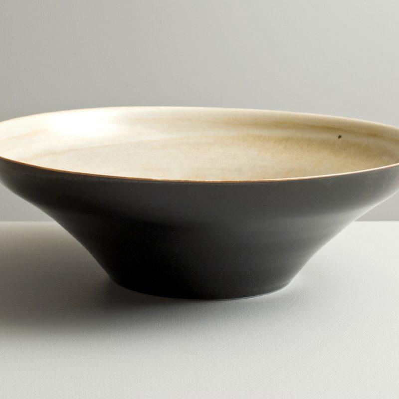 Olen Hsu 'Large Bowl with Variegated Ivory and speckled Black glaze' Porcelain 33 x 10 cm.