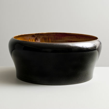 Olen Hsu 'Large Form with Inverted Lip in Amber and Black Mirror Glazes' Porcelain 12 x 29 cm.