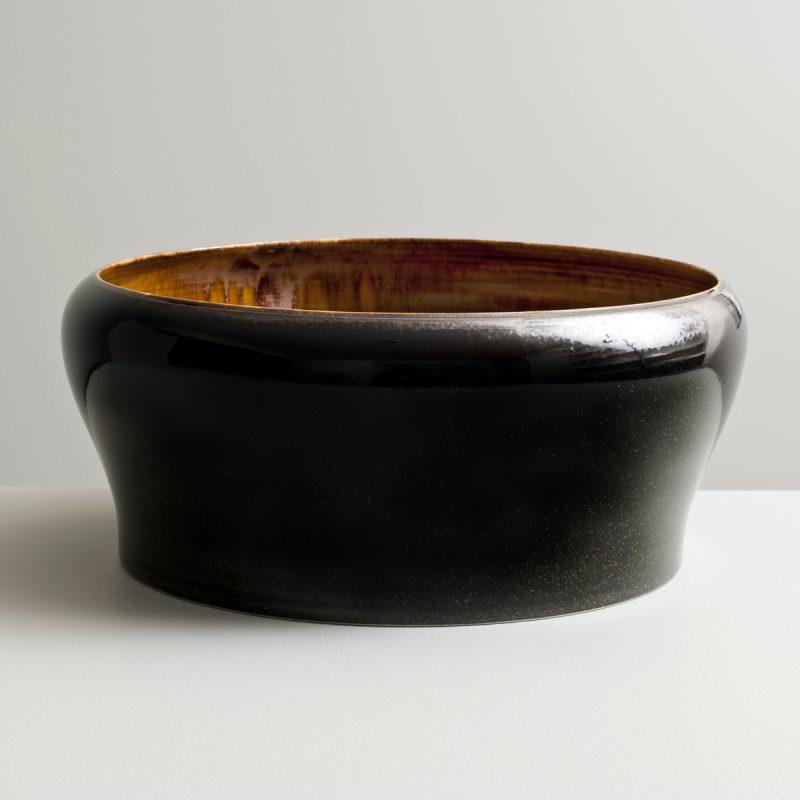 Olen Hsu 'Large Form with Inverted Lip in Amber and Black Mirror Glazes' Porcelain 12 x 29 cm.