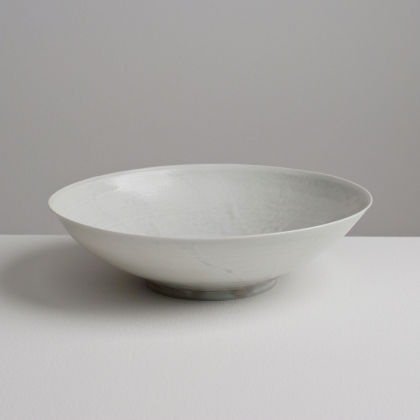 Olen Hsu Low Wide Translucent Bowl Pale Blue-grey ash glaze Porcelain 22 x 6 cm.