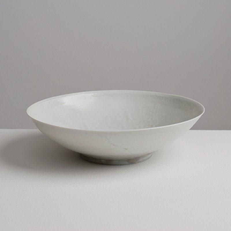 Olen Hsu Low Wide Translucent Bowl Pale Blue-grey ash glaze Porcelain 22 x 6 cm.