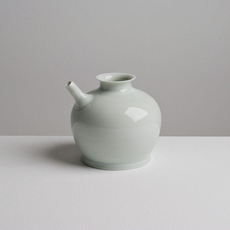 Olen Hsu Small Ewer in Celadon Glaze Porcelain 14 x14 cm.