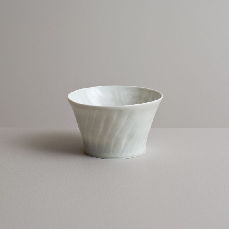 Olen Hsu Translucent fluted Tea Bowl in Ash Glaze Porcelain 7 x 12 cm.
