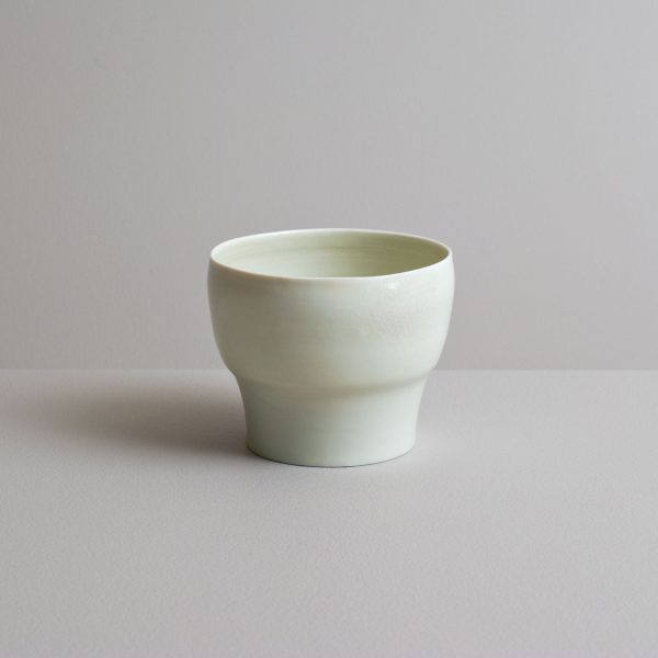 Olen Hsu Translucent Tea bowl in Celadon Glaze Porcelain 9 x11 cm.