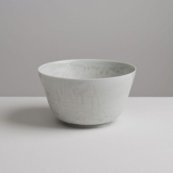 Olen Hsu Translucent Upright Bowl in Pale Blue-Grey Ash Glaze Porcelain Porcelain 16 x 9 cm.