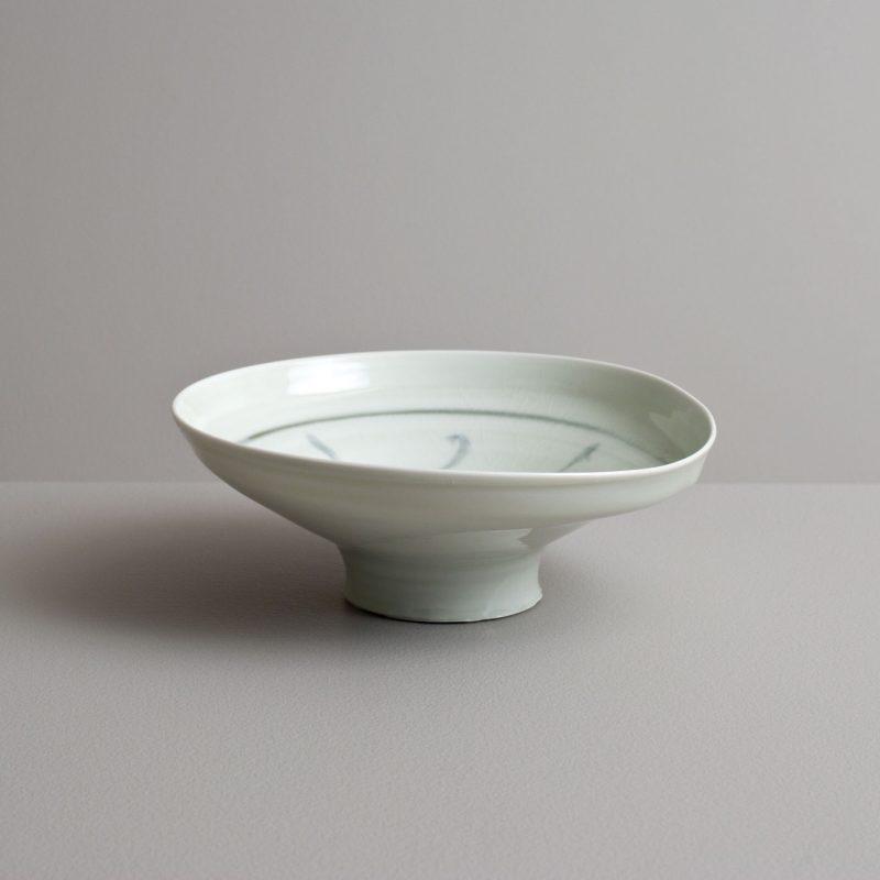 Olen Hsu Wavering High Footed Bowl in Celadon with Cobalt Underglaze Porcelain 7 x 18 cm.