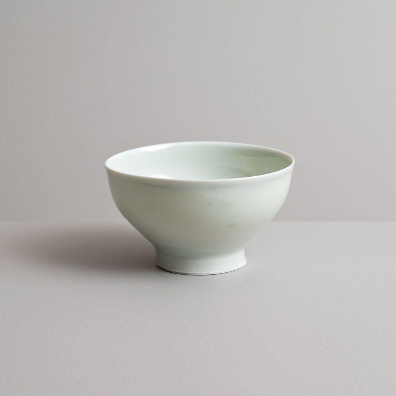 Olen Hsu Small Footed Bowl in Celadon with Cobalt Underglaze Banding Porcelain 8 x14 cm.