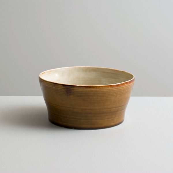 Olen Hsu Upright Bowl in Variegated Ivory-green and Running Amber glazes Porcelain 8 x 17 cm.