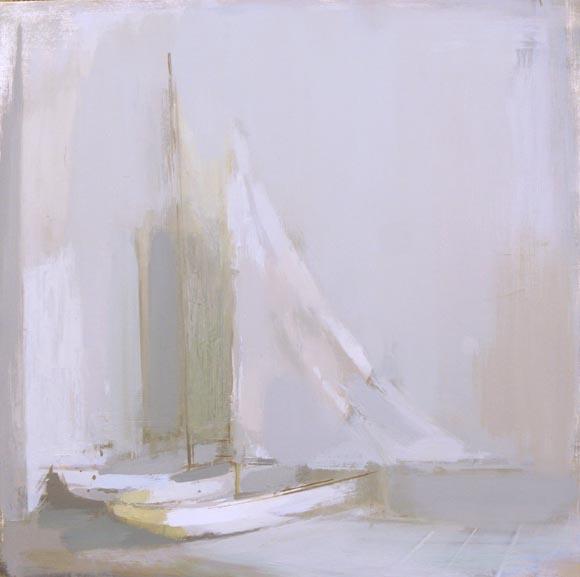 Simon Wright Boats in a Corner, Oil on board 61 x 61cm
