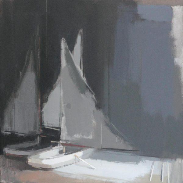 Simon Wright Boats, Oil on canvas 61 x 61 cm