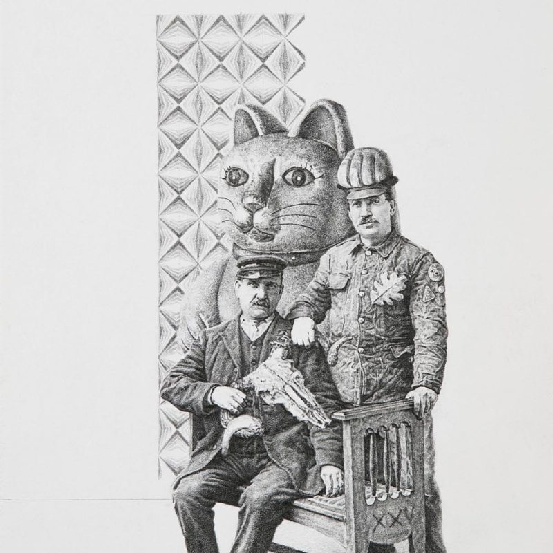 Greg Gilbert Fusiliers, Pencil on card 20 x 25 cm approx.