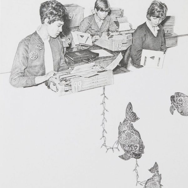 Greg Gilbert Typing Pool, Pencil on card 20 x 25 cm approx.