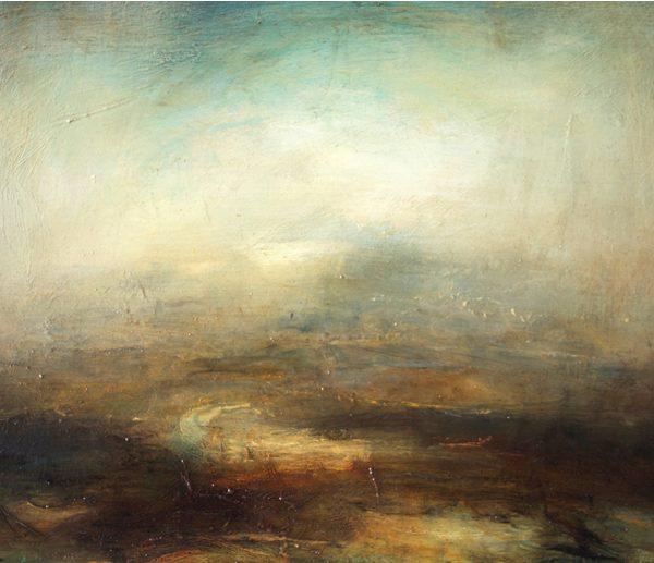 Mark Johnston Turning River, Oil on panel 30 x 40 cm