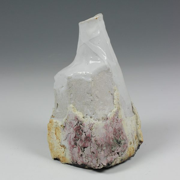 Eddie Curtis ECU10. Bottle, Stoneware with Shino glaze h16 x 10 x 9 cm Kurinuki technique