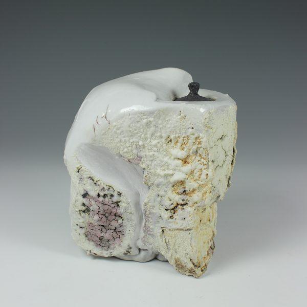 Eddie Curtis ECU4. Lidded Container, Stoneware with Shino glaze h19 x 17 x 11 cm