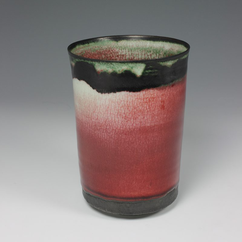 Eddie Curtis ECU43. Vase, Porcelain with copper red glaze h19.5 x 14.5 cm