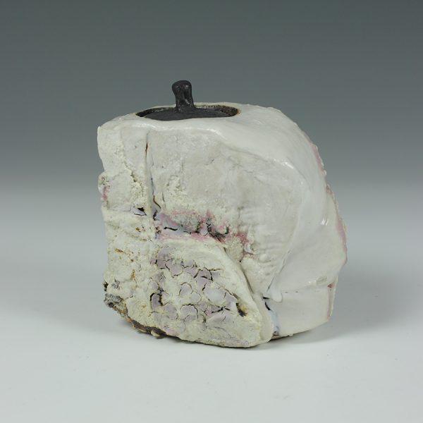 Eddie Curtis ECU6. Chai-Ire (Caddy for green tea), Stoneware with shino glaze h12 x 10 x 6 cm
