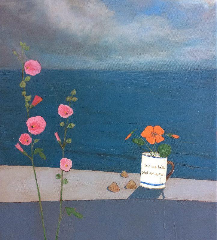 Jo Oakley Last of Summer, Mixed media on canvas 50 x 40 cm