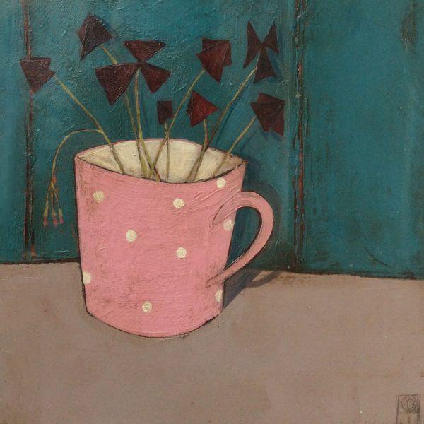 Jo Oakley Oxalis in Pink cup, Mixed media on board 18 x 18 cm