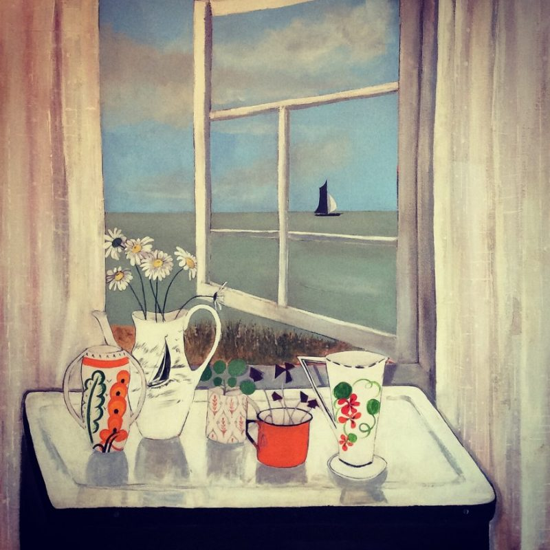 Jo Oakley Studio Table, Mixed media on canvas 76 x 76 cm