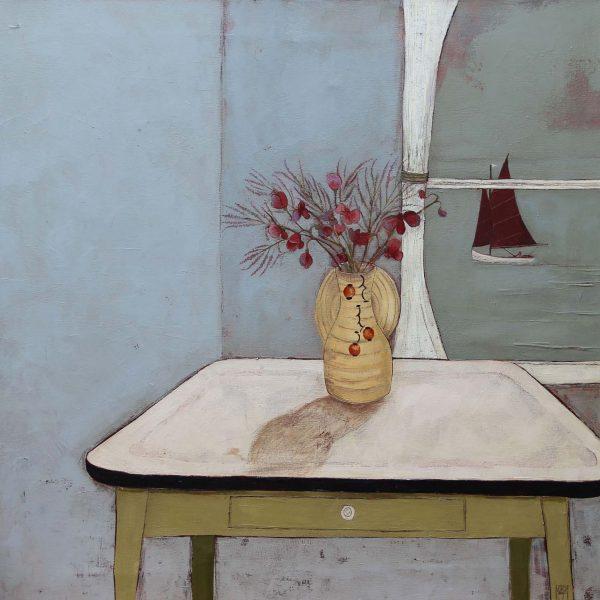 Jo Oakley Sweetpeas and Tamarisk, Oil on Canvas 80 x 80 cm