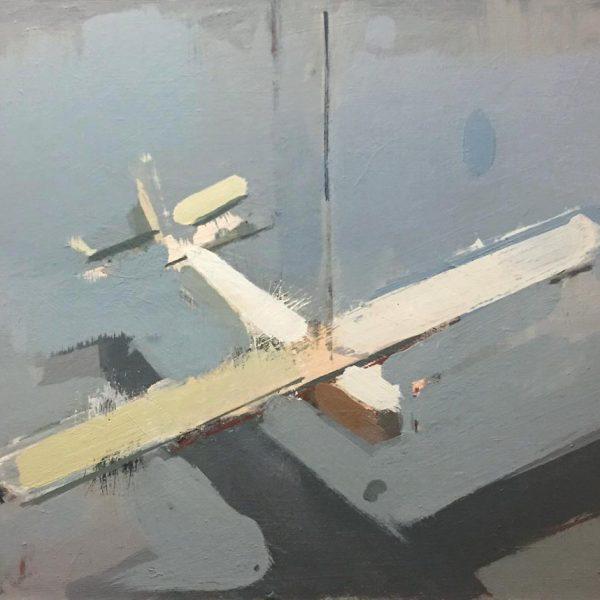 Simon Wright Plane, Oil on board 24 x 29 cm