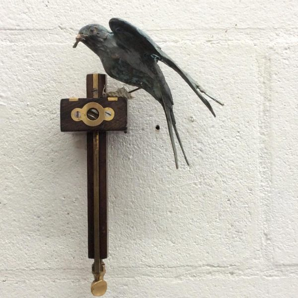 Patrick Haines Swallow with Gauge, Bronze and found object Ed. of 10