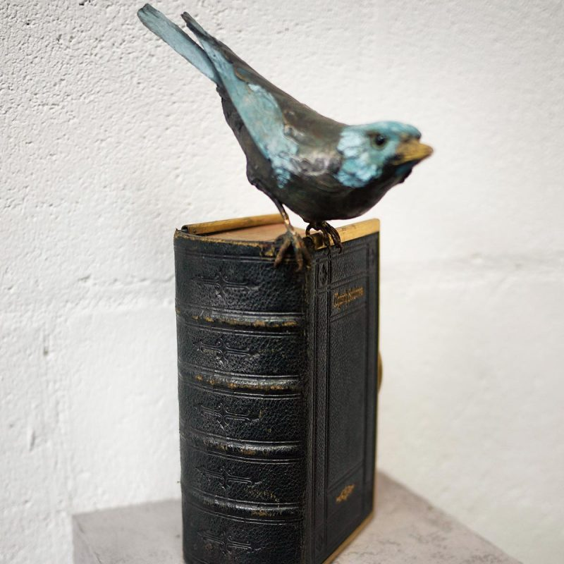 Patrick Haines Nuthatch with Prayer Book, Bronze and found object Ed. of 10