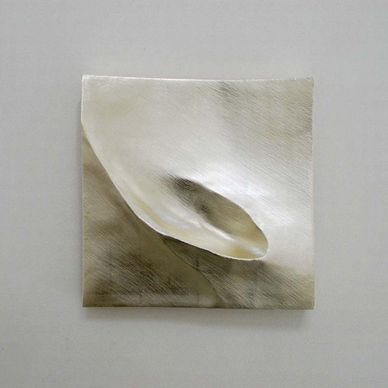 Simon Allen Flow study 2, 12ct White gold on carved wood 30 x 30cm