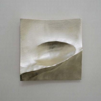Simon Allen Flow study 5, 12ct White gold on carved wood 30 x 30cm