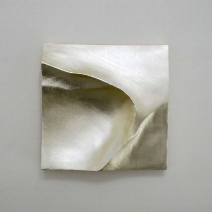 Simon Allen Flow study 6, 12ct White gold on carved wood 30 x 30cm
