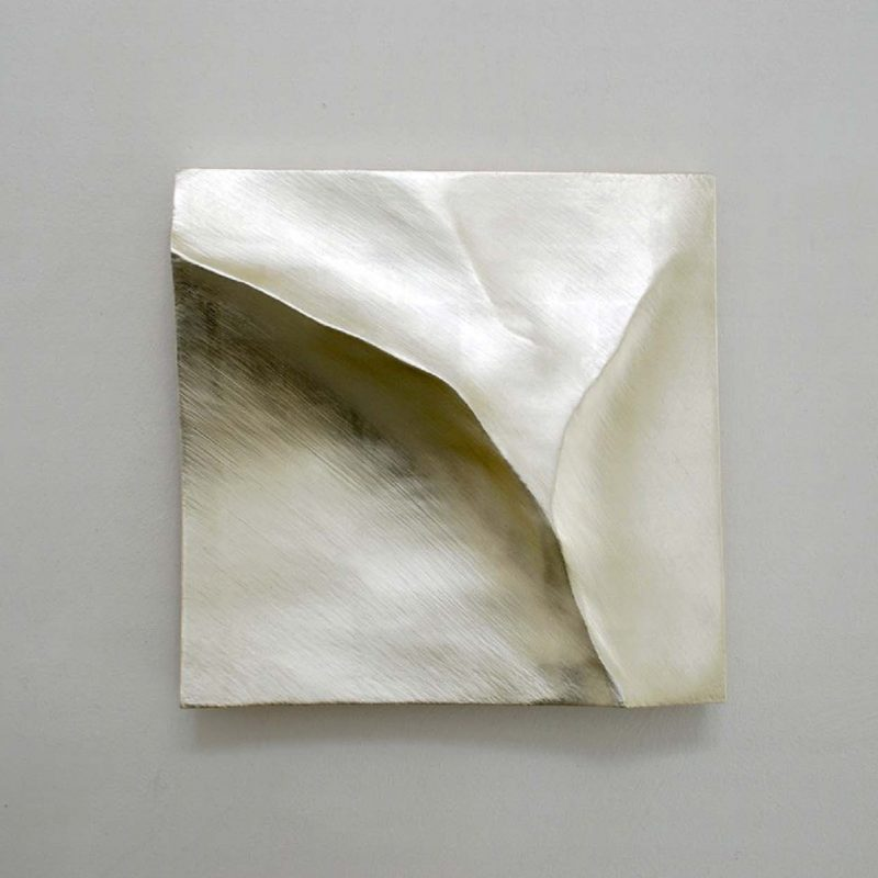 Simon Allen Flow study, 12ct White gold on carved wood 30 x 30cm