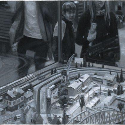 Nicholas Middleton Model Town, Oil on Paper on Card 10 x 15 cm