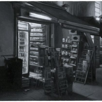 Nicholas Middleton Newsagents, Oil on Paper on Card 10 x 15 cm