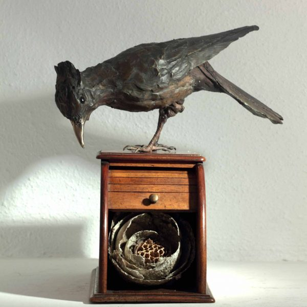 Patrick Haines Bluejay on Nest Box, Bronze found objects Ed. of 10 h24 x 21 x 18cm