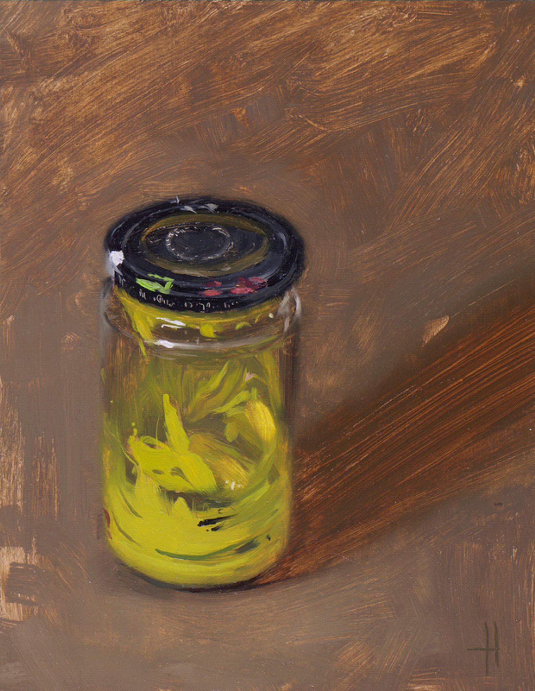 Tom Hughes Jar, Oil on Board 23 x 17 cm