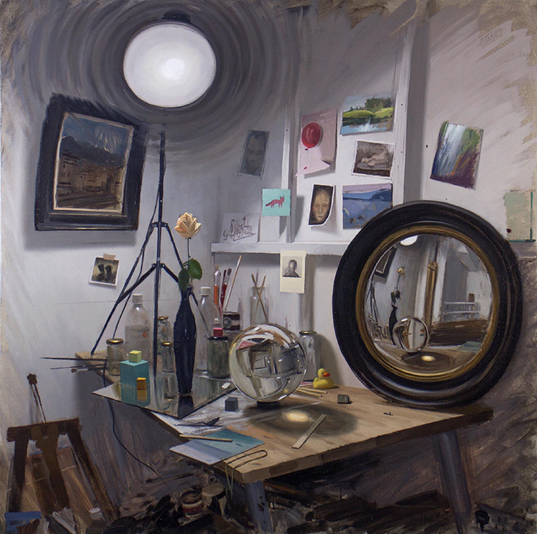 Tom Hughes Mirror Mirror, Oil on linen 97 x 97 cm