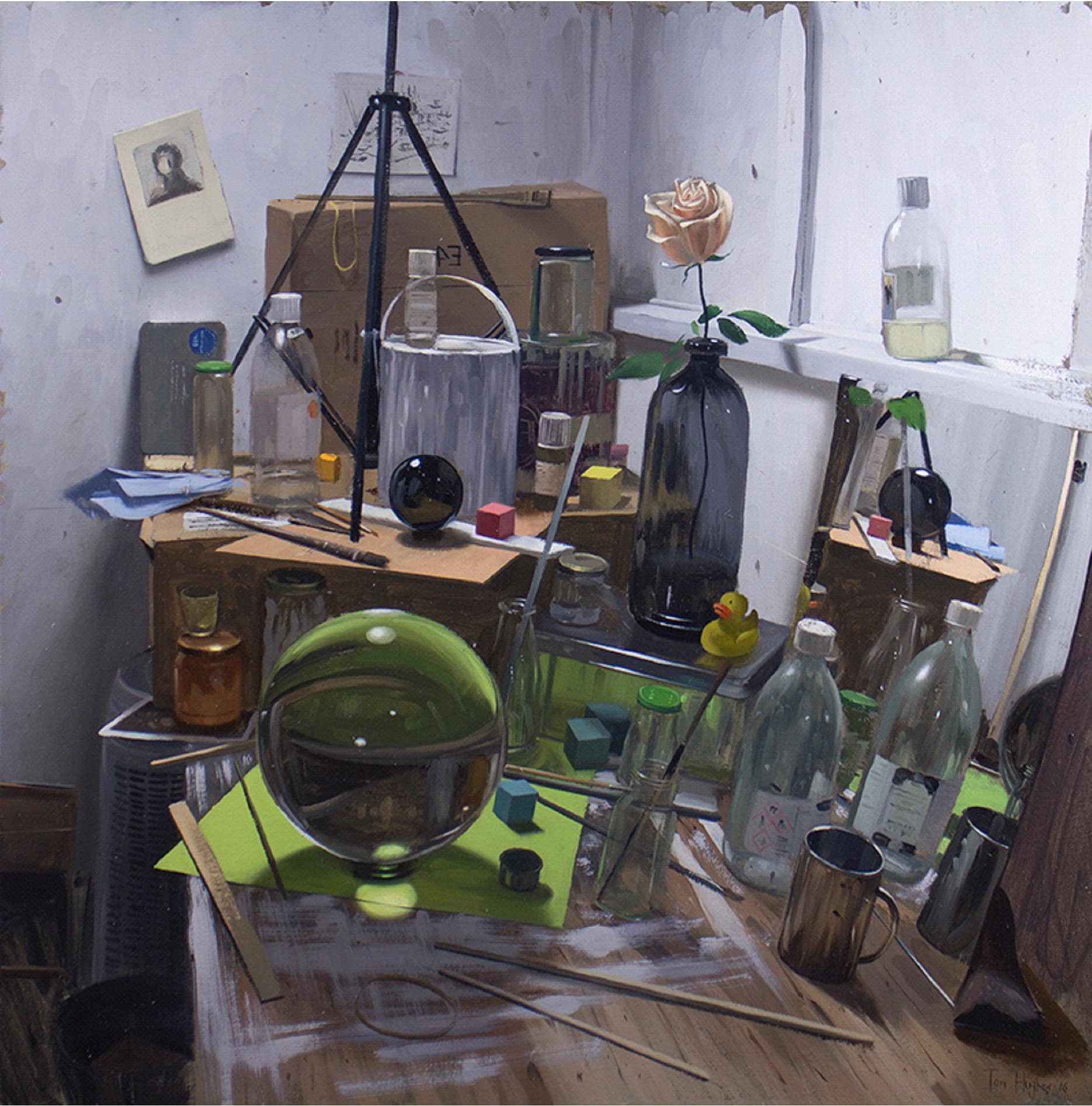 Tom Hughes Studio Corner with Orb and Green Paper, Oil on Linen 76 x 76 cm