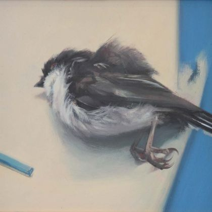 Jason Walker Long Tailed Tit, Oil on Board 16 x 16.5cm