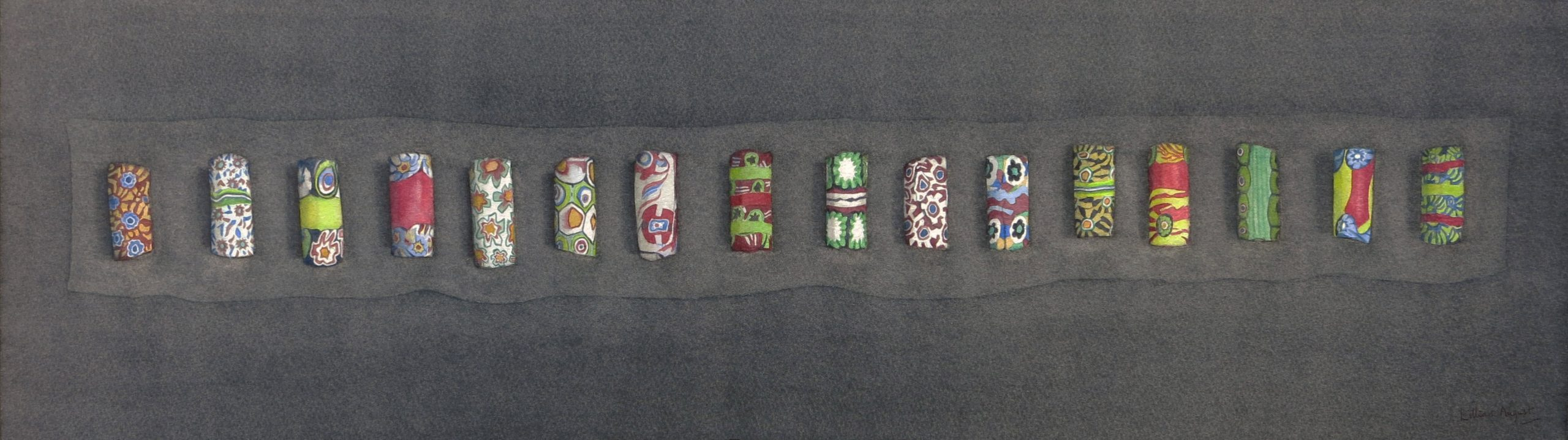 Lillias August Trade beads, Watercolour on paper 19 x 71 cm