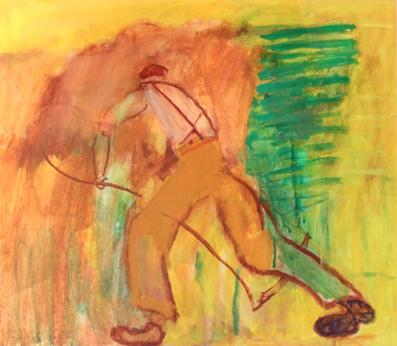 Ben Hartley Scything Gesso on Paper 52 x 59 cm.