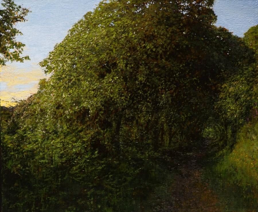 Martin Greenland Combe Diptych No.1, Oil on canvas 30.5 x 28cm