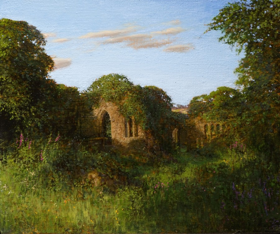 Martin Greenland Combe Diptych No.2, Oil on canvas 30.5 x 28cm