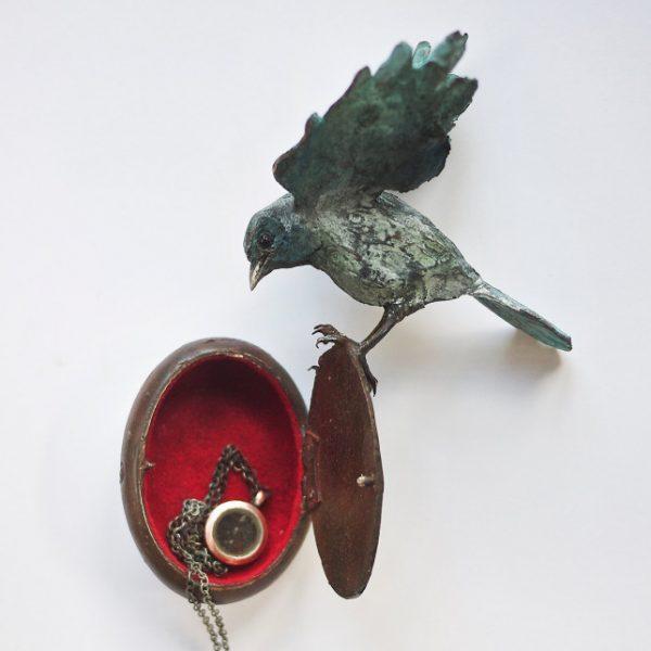 Patrick Haines Found, Bronze bird and locket ed. of 10