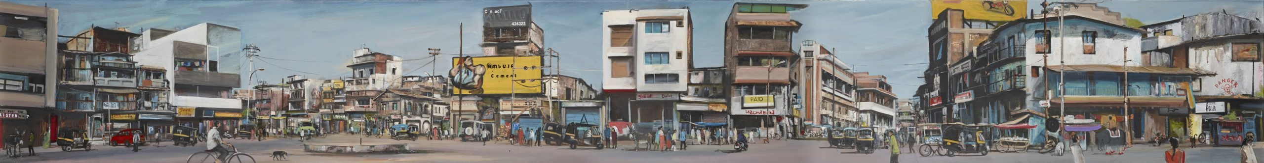 Akash Bhatt A is for Answer, Oil on canvas 38 x 291cm