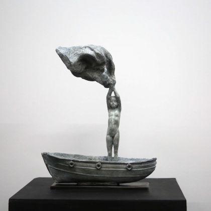 Beth Carter,Girl in Boat Bronze, Ed of 10, 37 x 30 x 12 cm