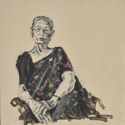 Akash Bhatt Madhu 2, Acrylic on Paper 57 x 57cm